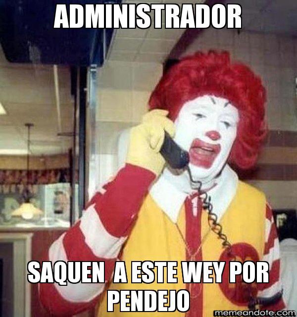 memes de administradores - payaso