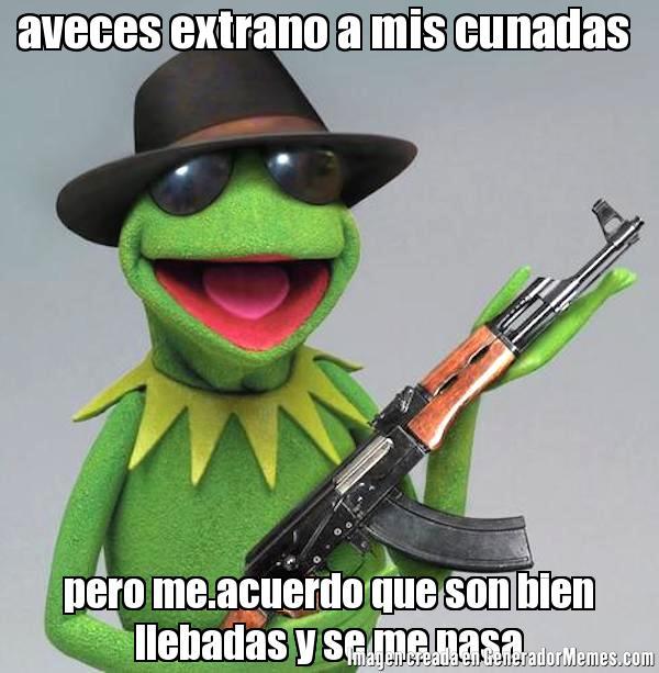 memes de cuñadas - rana con fusil aveces