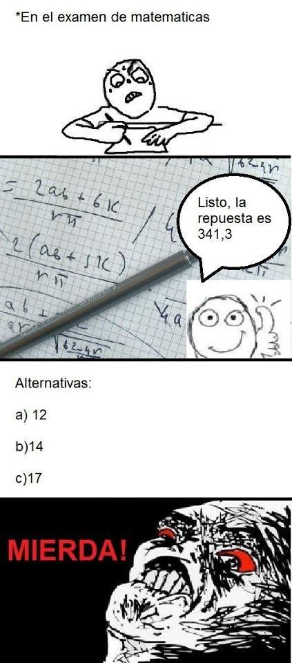 memes de matematicas - el examen