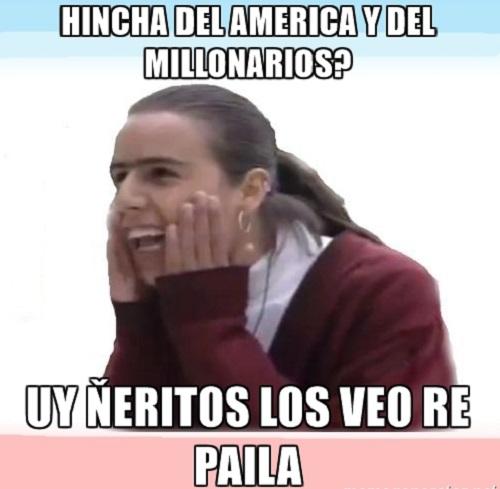memes de millonarios - america y millonarios hinchas